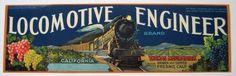 LOCOMOTIVE ENGINEER Grape Crate Label Old Railroad Steam Engine Fresno CA #AgraBear