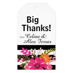 Black & White Striped Flowers Gift Tag   fuchsia