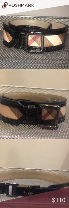 """Burberry plaid and black patent belt Burberry plaid and black patent belt  Size small (32"""" waist)  3  holes for various placements  Looks great with dark wash jeans  Buy with Confidence! 100% authentic. Item identical to pictures and description. Please message me with any questions. Burberry Accessories Belts"""