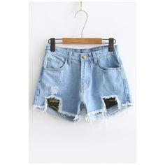 Women's High Waist Ripped Broken Zipper Fly Denim Shorts ($31) ❤ liked on Polyvore featuring shorts, distressed shorts, denim shorts, destroyed jean shorts, high-waisted shorts and distressed denim shorts