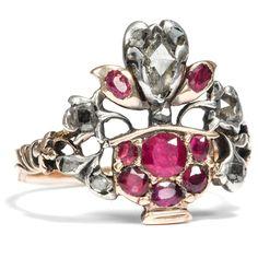 Italien um 1740: Antiker Giardinetti RING Gold Diamanten, Rubin Giardinetto Ring
