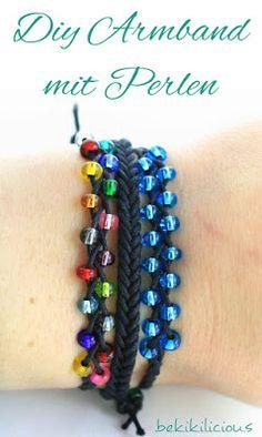 bekikilicious: Making braided bracelet with pearls yourself bekikilicious: Geflochtenes Armband mit Perlen selber machen Diy Jewelry Rings, Diy Jewelry Unique, Diy Jewelry To Sell, Jewelry Tags, Diy Jewelry Making, Jewelry Crafts, Beaded Jewelry, Braided Bracelets, Bracelets For Men