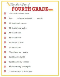 First Day of Fourth Grade Interview - Click image or link below to download Interviews for every grade!