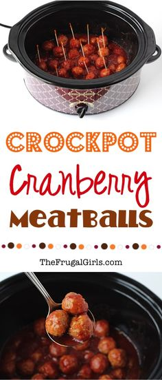 Easy Crockpot Cranberry Meatballs Recipe! ~ from TheFrugalGirls.com ~ wow your holiday guests with these crazy delicious, sweet and tangy Crock Pot Meatballs! Just 3 ingredients and always the STAR of the party!! #slowcooker #recipes #thefrugalgirls