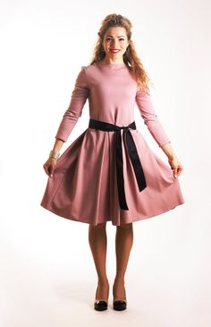 Casual autumn dress with pockets midi dress pink by ADORIQUE