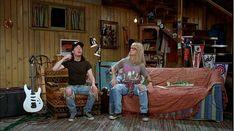 Wayne and Garth broadcast Wayne's World live from the basement