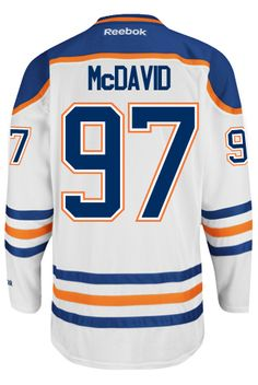 Edmonton Oilers Connor McDAVID #97 Official Away Reebok Premier NHL Hockey Jersey (HAND SEWN CUSTOMIZATION)