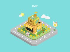 isometric kakao on Behance Isometric Cube, Isometric Design, 3d Design, Game Design, Simple Character, Game Environment, Texture Painting, Low Poly, Graphic Art