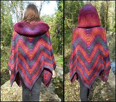 "This pattern brings a 2-color brioche poncho & pelerine & shawl in attractive and fun form of a stylized leaf and 5 ""peaks"", with big Victorian hood and front buttoning (double knitting selvedges). Something soft, worm, different… You can wear both sides, like two different items. It can be worn in several different ways. It's a wide, comfortable poncho, one size fits to all in highly elastic work. You can wear it over a coat! If you start now, you have plenty of time until Christmas!"