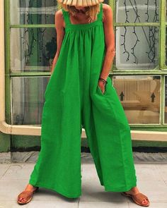 Model: Loose Material: Cotton Blends Length: Full Length Trousers Shape: Wide Legs Elasticity: Stretchy With Belt: No Pattern: Plain Style: Western Season: Summer * Size Total Length Bust cm inch cm inch S 141 88 M 142 92 L 143 96 XL 144 100 * Plus Size Jumpsuit, Casual Jumpsuit, Striped Jumpsuit, Estilo Hippie, Jumpsuit Pattern, Look Chic, Nice Dresses, Ball Dresses, Ideias Fashion