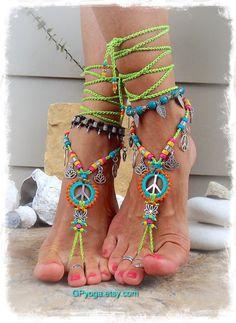 NEON Lotus Friedenszeichen barfuss Sandalen Friedenssymbol