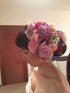 ウェディング髪型 花飾り