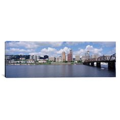 """East Urban Home Panoramic Oregon, Portland, Willamette River Photographic Print on Canvas Size: 20"""" H x 60"""" W x 1.5"""" D"""