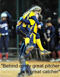 Softball — That inseparable bond between a pitcher and. Softball Catcher Quotes, Softball Photos, Softball Workouts, Softball Problems, Softball Cheers, Softball Shirts, Softball Players, Girls Softball, Fastpitch Softball