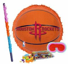 "Houston Rockets Basketball - Pinata Party Pack Including Pinata, Pinata Candy and Toy Filler, Buster and Blindfold by Pinata. $42.05. Houston Rockets Basketball - Pinata measures approximately 17"" in diameter and 3"" deep. Includes approximately 2 pounds of Candy and Toys. Caution: not recommended for children under 3 years of age. Includes one hard Plastic Pinata Buster that measures approximately 30"". Caution: use only under adult supervision. Includes one Blindfold with Elasti..."