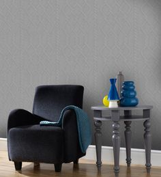 Wallpaper of the week: grey knitted wall by Graham & Brown Wallpaper Stickers, Graham Brown, Shades Of Grey, Accent Chairs, Armchair, Dining Chairs, House, Inspiration, Furniture