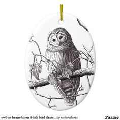 owl on branch pen & ink bird drawing Double-Sided oval ceramic christmas ornament Bird Drawings, Holiday Traditions, Owl, Ceramics, Christmas Ornaments, Natural, Inspiration, Design, Products