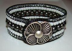 Beaded leather wrap bracelet - 5 row