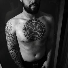 Bold negative space vegvisir tattoo by Woody Hills #vegvisir #WoodyHills #vikingcompass #viking #symbol #negativespace #blackwork #blckwrk