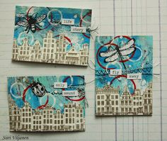 Käsitöitä flamencohame hulmuten - Siiri Viljanen ATC Atc Cards, City Landscape, Artist Trading Cards, Stamping, Mixed Media, Give It To Me, Playing Cards, Inspirational, Type