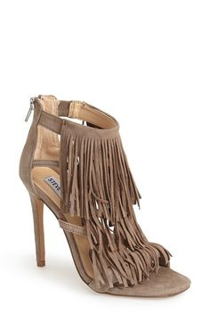 Free shipping and returns on Steve Madden 'Fringly' Sandal (Women) at Nordstrom.com. Sweeping fringe lends soft bohemian allure to a lush suede cage sandal lifted by a slender heel.