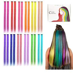 Girls with Colored Hair : Kyerivs Colored Clip in Hair Extensions 20 inch Rainbow Heat-Resistant Straight Highlight Hairpieces Halloween Cosplay Dress Up Fashion Party Christmas New year Gift For Kids Girls 12 Color in 24 pcs : Beauty Colored Hair Extensions, Clip In Hair Extensions, Hair Tinsel, Hair Extension Clips, Coloured Hair, Cosplay Dress, Dye My Hair, New Year Gifts, Halloween Cosplay