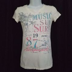 Aeropostale T Shirt White Graphic Embellished Women's Sz Small Music Sun Surf #Aropostale #EmbellishedTee