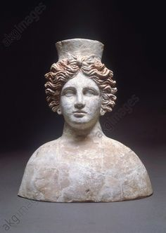 Phoenician civilization, 5th–4th century b. C. Bust of goddess Tanit, Hellenistic style. Ibiza, Museu Monogràfico De Puig Des Molins (Archaeological Museum)