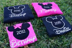 Disney World Shirts for the Family  Mickey & Minnie by CuteZTootZ, $25.00. The lady that makes these shirts is from Conroe, TX. Maybe that will save me on shipping.
