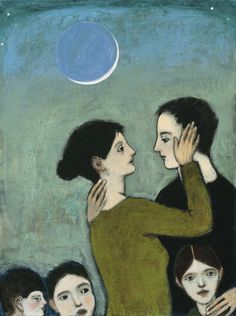 """""""Choosing Everything"""" by Brian Kershisnik  A couple silhouetted against an evening sky with a slivered moon and surrounded by what matters most."""