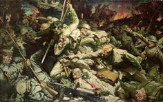 Royal Welsh Fusilier attack painted by Christopher Williams.