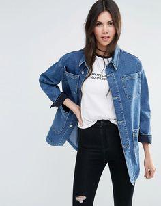 Image 1 - ASOS - Veste workwear en jean à délavage bleu moyen