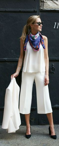 ivory culottes, ivory blazer, v-neck camisole, block-heeled suede pumps, vintage neck scarf + sunglasses {whbm, reiss, lark & ro, versace}