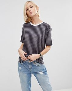 ASOS   ASOS T-Shirt In Stripe With Contrast Trim