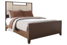 Trishelle Upholstered Panel Bed via Ashley Furniture Industrial Furniture, Home Furniture, Ashley Furniture Industries, Sofa Shop, Nebraska Furniture Mart, Bedroom Storage, Home Furnishings, Sofas, Panel Bed