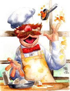 Swedish chef by Roger Cruz Swedish Chef, Swedish Girls, Swedish Dishes, Chef Kitchen Decor, Kitchen Art, Roger Cruz, Chef Pictures, Kitchen Pictures, Fraggle Rock