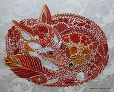 crewel embroidery fox - Google Search