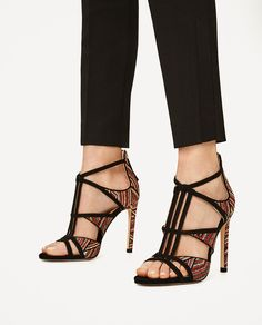 CONTRAST FABRIC HIGH HEEL SANDALS-Heeled sandals-SHOES-WOMAN | ZARA United States