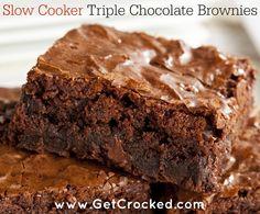 Slow Cooker Triple Chocolate Brownies - YUM! #crockpot #GetCrocked #Recipe
