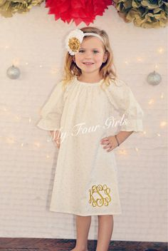 A personal favorite from my Etsy shop https://www.etsy.com/listing/258044261/girls-gold-dress-holiday-dress-cream