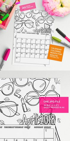 Make your own calendar with this April 2018 Calendar to color page!! #adultcoloring #coloringforadults #coloringpages #adultcoloringpages
