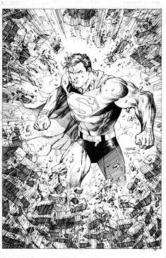 Superman by Jim Lee Comic Book Artists, Comic Artist, Comic Books Art, Jim Lee Art, Batman And Superman, Superman Stuff, Pop Culture Art, Dc Comics Art, Art Station