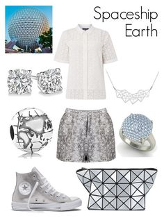 """""""Spaceship Earth Disneybound"""" by msmith22 ❤ liked on Polyvore featuring Pied a Terre, Pandora, Bao Bao by Issey Miyake, Diamondere, Converse, A Weathered Penny, Disney, disney, disneybound and epcot"""