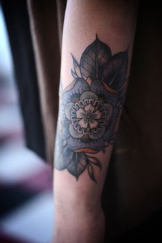 Did I already pin this? Oh well, it deserves another one.    geometric flower cover up by alice carrier at anatomy tattoo in portland, oregon