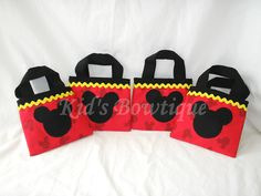 Items similar to Set of 6 Disney Red Mickey Mouse Inspired Party Favor Bags on Etsy Mickey Mouse Party Favors, Fiesta Mickey Mouse, Mickey Mouse Parties, Mickey Minnie Mouse, Party Favor Bags, Disney Crafts, 3rd Birthday, Party Time, Party Ideas