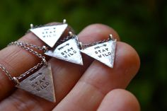 Stay Wild sterling silver arrowhead necklace by ashley weber Silver Jewellery, Sterling Silver Necklaces, Jewlery, Arrow Head, Stay Wild, Minimalist Necklace, Hand Stamped, Diamond Earrings, Jewelry Design