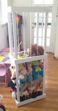 Stuffed Animal Zoo for our Playroom- Keeps toys visible! Stuffed Animal Storage Zoo, Stuffed Animal Holder, Organizing Stuffed Animals, Diy Stuffed Animals, Stuff Animal Storage, Stuffed Toys, Tier Zoo, Pvc Projects, Pet Cage