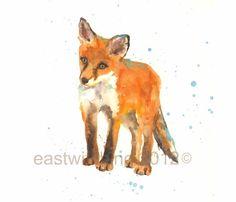 Bébé renard Art Print, cadeau amoureux de Fox, fox, fox art, animaux fantaisistes