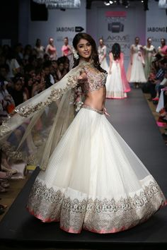 Bridal Couture du Jour!  This lovely lengha has all the light  breezy romance  of a white wedding gown, married with the glitz of an Indian wedding.  MFD approved!!