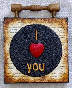 I LOVE YOU -  Recycled CD Art Assemblage.